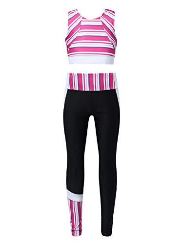 dPois Ropa Deportiva Niñas Chandales Verano a Rayas Crop Top Deporte y Pantalones Leggings Deportivos Chicas Danza Gym Conjuntos de Deporte Yoga Fitness Running Rosa Rojo 13-14 años