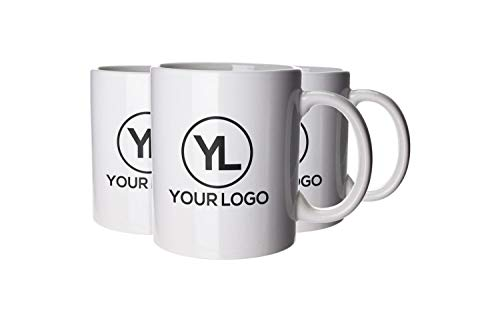 Personalised 72 x Corporate & Business Mugs. Pack of 72 Printed White Ceramic Mugs. Promotional Event & Exhibition Mugs. Branded with Logo & Company Details.