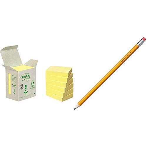Post-It 653-1B - Pack de 6 notas recicladas, 38 x 51 mm, color amarillo + AmazonBasics - Lápices n.º 2 HB de madera, afilados, Pack de 30