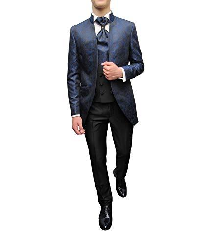 MMUGA Hochzeitsanzug 5 teilig Stehkragen Gehrock Blau 44