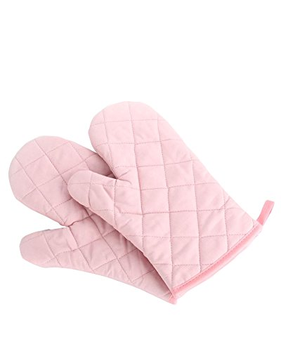 Oven Mitts, Premium Heat Resistant Kitchen Gloves Cotton & Polyester Quilted Oversized Mittens, 1 Pair Pink
