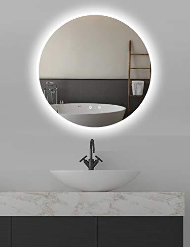 ApeJoy® runder Wandspiegel ø80cm mit beleuchtung und spiegelheizung, LED Badspiegel mit Touch-Schalter, Lichtspiegel hell Kaltweiß 6500K Energieklasse A+ IP44 (Runde 80cm Antibeschlage) AJ01ps