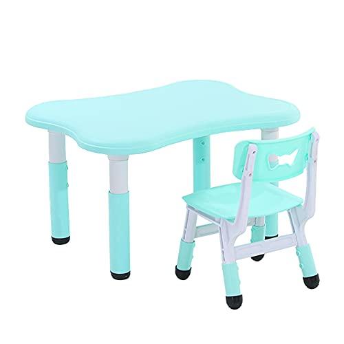 Juego de mesa y silla para niños, altura ajustable, mesa y silla de estudio para niños de plástico doméstico, escritorio/mesa de juego antideslizante para niños, soporte de carga fuerte/蓝色 /