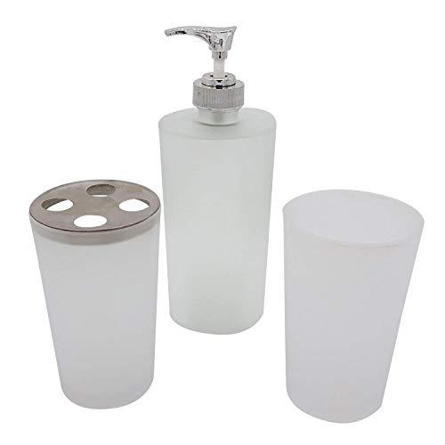 Land-Haus-Shop Milchglas Badezimmer Set Matt Glas 3 Teilig, Zahnbürsten Halter Becher Zahnputzbecher Seifenspender