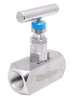 "1"" Stainless Steel (316) Needle Valve - Packed Bonnet FxF NPT, 10,000 PSI by DuraChoice"