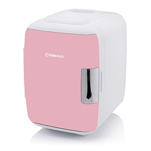 Subcold Classic4 Small Mini Fridge Cooler & Warmer | 4 Litre - 6 Cans | Compact, Portable & Quiet | AC+DC+USB Power Compatibility Options (White/Pink)