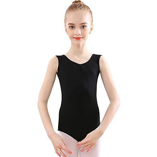 Bezioner Maillot de Danza Gimnasia Leotardos de Ballet de Algodón sin Mangas para Niñas y Mujer Negro 140