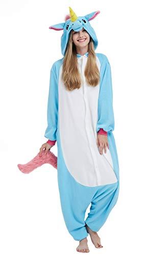 DELEY Enterizo de Pijamas Unicornio Mono Ropa de Dormir con Capucha Disfraces Adultos Cosplay Anime Carnaval Halloween