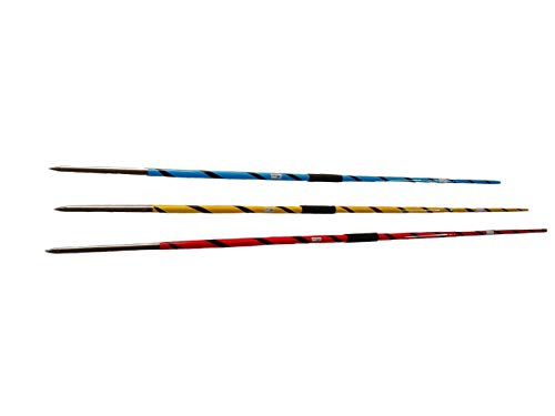 SKS Aluminium Javelin Throw Stick - Double Multicolours 400 Grams 500 Grams 600 Grams- Pack of 3 , Blue, Red, Yellow with Black