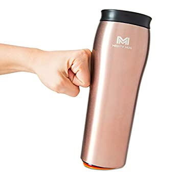 Mighty Mug - Stainless Steel Non-Tip Travel Mug - Double-Wall Insulated - Keeps Coffee Tea and Drinks Hot for 6 Hours Cold for 24 Hours Leakproof BPA-Free Tumbler 16oz Rose Gold