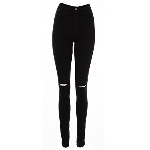 Freya Womens joni super Highwaisted Ripped zwart super stretch Skinny Jeans jeggins 6 8 10 12 14 (12, zwart)