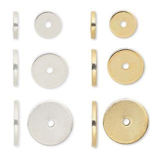 100 Steel Metal Smooth Flat Spacer Disc Heishi Rondelle Beads Small - Big (6mm, Gold)