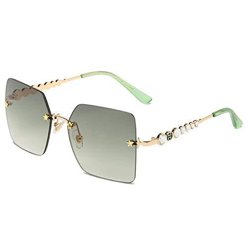 hqpaper Gafas de sol sin montura recortadas, elegantes gafas de sol con patillas con incrustaciones de diamantes: montura dorada, verde degradado