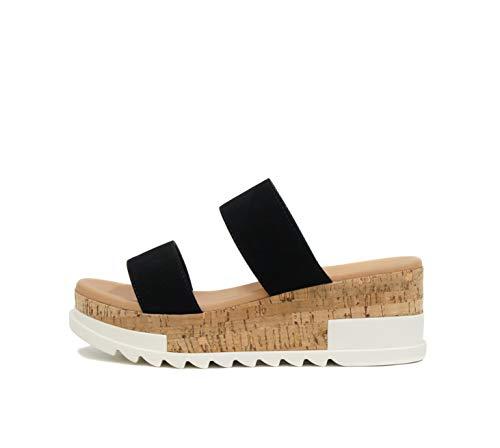 Soda Poppin ~ Slip On Cork Platform Wedge Sandals with 2 Straps on Top (7.5, Black)