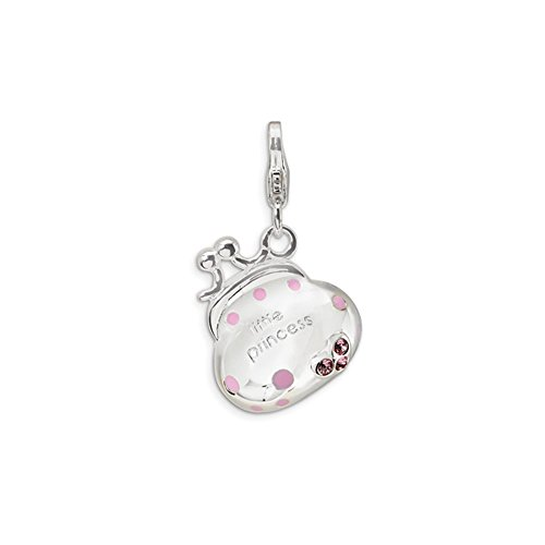 Diamond2Deal Damen-Anhänger aus 925er-Sterlingsilber, Swarovski-Element, Emaille, kleine Prinzessin, Handtaschen-Anhänger für Frauen