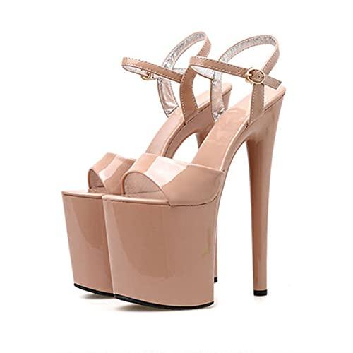 20,5 Cm De Las Mujeres Peep Open Toe Platform Sky High Stiletto Heel Tobillo Correa Hebilla Party Sandalias Atractivas Pole Fitness Dancer Heel Platform Sandal,Beige,38