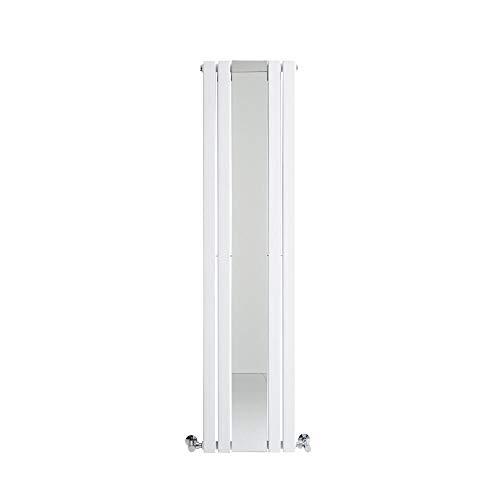 Hudson Reed Sloane Radiatore Termoarredo Verticale Di Design con Specchio - Termosifone d'Arredo Moderno in Bianco - Riscaldamento ad Acqua Calda - 1212W – 1600 x 385 mm