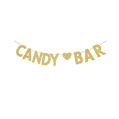 Candy Bar Banner, Gold Gliter Paper Sign Decors for Birthday/Wedding/Engagement Party