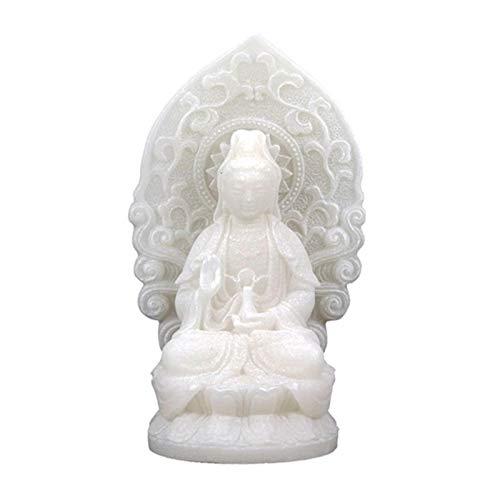 Estatuilla Quan Yin de 12 cm hecha de alabastro, diosa de la misericordia, encarnación de compasión y amistad, Guan Yin Kwan Yin
