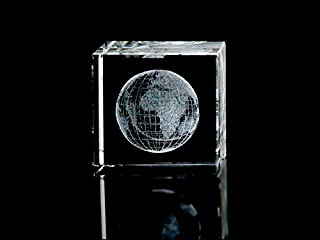 ASFOUR CRYSTAL 1159-50-44 2 L x 2 H x 2 W in. Crystal Laser-Engraved Globe Miscellaneous Laser-Cut