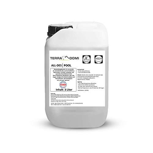 Terra Domi All-des Pool, 3 L, flüssiges Chlor Desinfektionsmittel für Planschbecken, Pool & Schwimmbad, Poolpflege mit wenig Chlor, flüssiges Reinigungsmittel für Badewasser