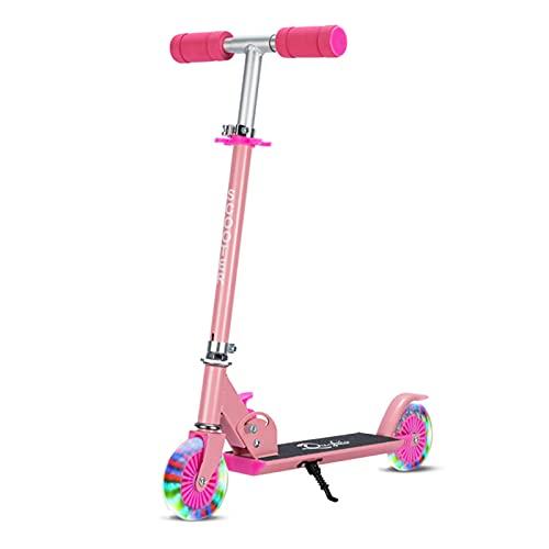 LUWEI NIÑOS Kick Scooter, Scooter Plegable de 2 Ruedas con Manillar Ajustable y lámparas de la PU, Freno Trasero para niños Adolescentes Mayores de 6 años,Rosado