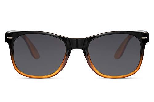 Cheapass Gafas de sol Estilo Rectangular Clásico con Montura Transparentee de Negro a Naranja y Lentes Oscuras UV400 Hombres