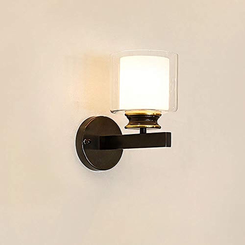 ZR Eisen nachttischlampe Nordic Wandleuchte Land Retro Schlafzimmer Studie Wohnzimmer Gang persnlichkeit Restaurant Wandleuchte (Farbe   schwarz)