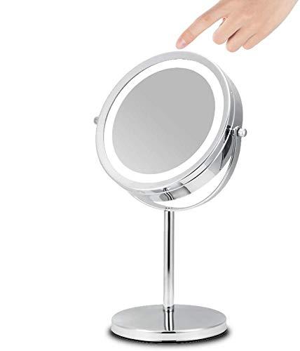 FeelGlad Kosmetikspiegel, Doppelseite Schminkspiegel mit LED-Beleuchtung und 1x/5x Fache Vergrößerung,360° Schwenkbar Rasierspiegel für Badezimmer, Kosmetikstudio, Spa und Hotel