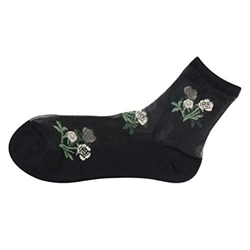 5 Par/Paquete De Calcetines Ultrafinos Transpirables para Mujer Calcetines De Seda De Encaje Transparente Calcetines Cortos Elásticos con Flor De Rosa De Cristal, Turquesa
