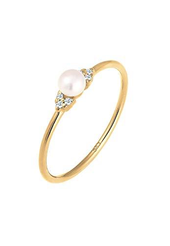 DIAMORE Ring Damen Verlobung Perle mit Diamant (0.06 ct.) in 585 Gelbgold