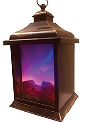 Elegant 2 Color LED Flame Effect Lantern Decor Timer Indoor/Outdoor Battery Operated