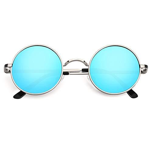 CGID Retro Vintage Sonnenbrille, inspiriert von John Lennon, polarisiert mit rundem Metallrahmen, für Frauen und Männer Verspiegelt Silber Blau E01