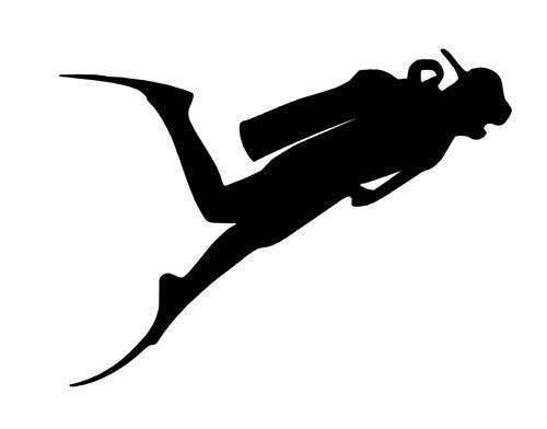 Generic Tauchsport Aufkleber in 10cm 15cm 20cm 25cm Taucher Tauchen Aufkleber Autoaufkleber Diving (121/3) (10cm, schwarz Glanz)