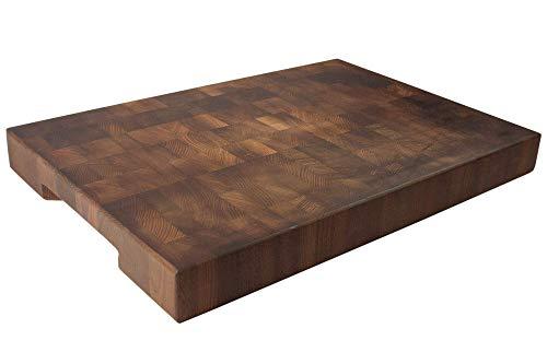 Cuisine Romefort | Hackblock aus Thermobuche Stirnholz | Massives Schneidebrett mit Griffen | Antibakteriell Holz Geölt (XL | 50 x 35 x 5 cm)