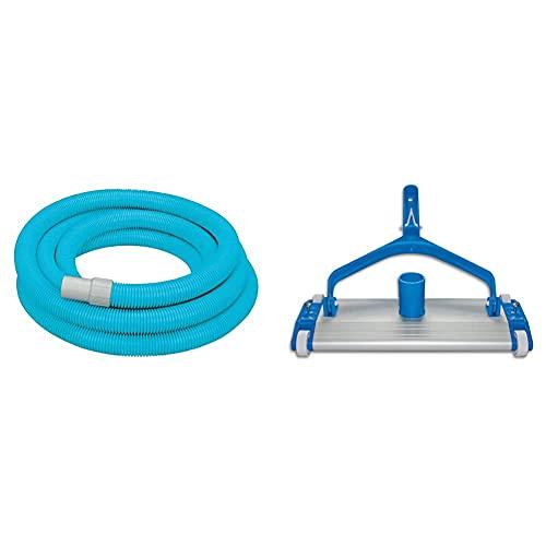 Intex 29083 Manguera Para Aspirar Deluxe De 750 Cm X 38 Mm + Productos Qp 500340C Limpiafondos Metálico, Fijación Clip, 335 Mm