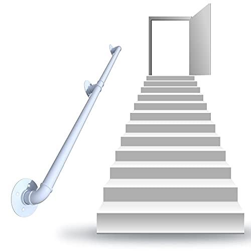 Escaleras interiores pasamanos antideslizante industrial blanco montaje de pared riel de mano interior al aire libre escaleras escaleras escaleras escaleras porche cubierta de mano ( Size : 18ft )