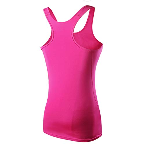 Chaleco de verano para mujer, top de yoga, chaleco deportivo sexy para mujer, camiseta de correr ajustada sin mangas, top de túnica corta para mujer, día de Pascua, San Patricio (Hot Pink-L)