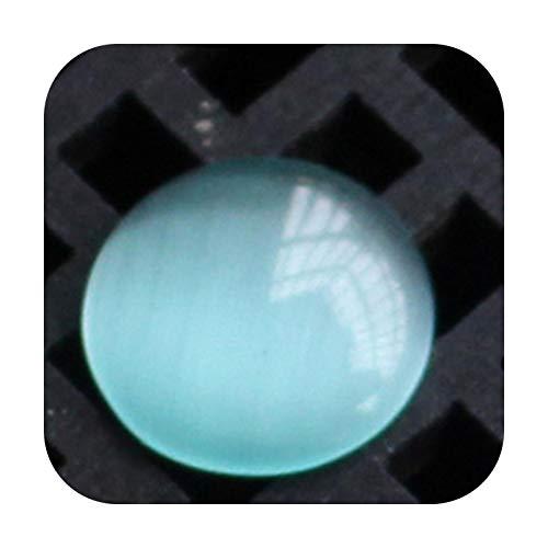 who-care 20 cuentas de piedra natural con cabujón de cristal de 8/10/12 mm, parte trasera plana, ágatas, ojos de tigre, para hacer joyas, accesorios, tamaño mediano, azul, 12 mm