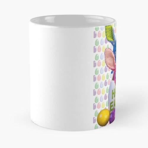 Taza de café de cerámica con diseño de conejo feliz de Pascua, divertido día del domingo de 315 ml, con texto en inglés 'Eat Food Bite John Best Taza de café de cerámica de 315 ml