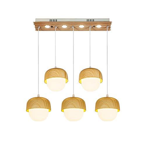 WHSS Moderno LED 5 Fuente de luz, Madera, Color, Hierro, acrílico, Cadena Ajustable, Dormitorio, Sala, Comedor, Estudio, lámpara/lámpara