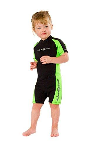 NeoSport Wetsuits (S620CB-05-2) Children's Premium Neoprene 2mm Shorty Wetsuit, Black/Lime, Size Two