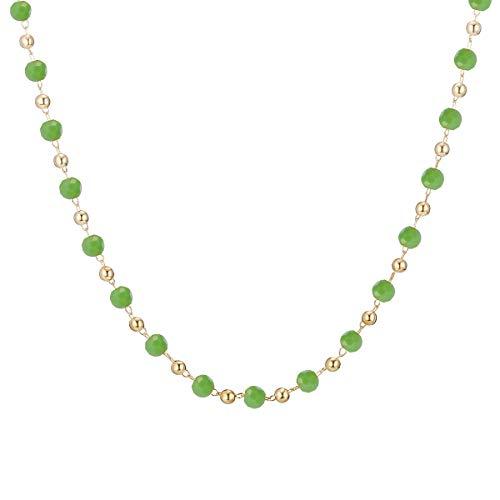 Ouran, Collana girocollo da donna, multicolore con ciondolo a catena lunga, ideale come regalo per ragazze, mamma, amiche e Lega, colore: Perline verdi., cod. XL-0724