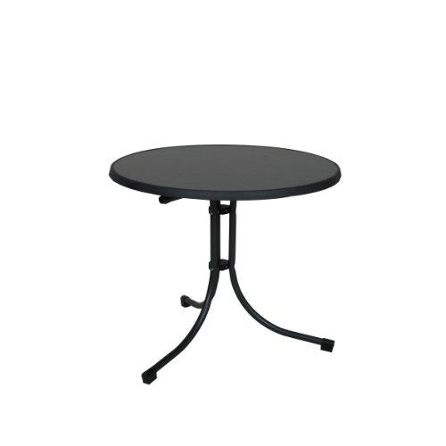 greemotion Klapptisch anthrazit, Gartentisch mit witterungsbeständiger Sevelit-Tischplatte in Schieferoptik, platzsparend klappbar, runder Tisch mit robustem Stahlgestell, besonders pflegeleicht, Maße: ca. Ø 85 x H 70 cm