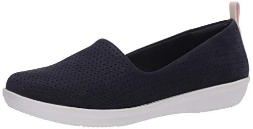 Clarks Women's Ayla Blair Loafer Flat, Navy Synthetic Nubuck, 70 M US