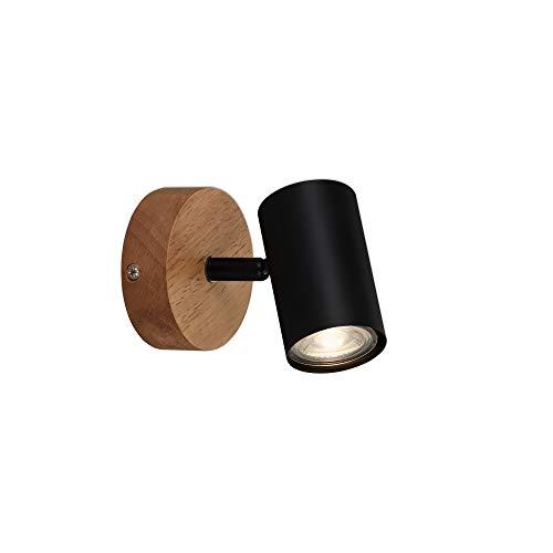 Briloner Leuchten 2920-015 lámpara retro, vintage, foco rotativo y giratorio, 1x GU10, metal-madera, negro, 90x120mm (diámetro x distancia a pared)