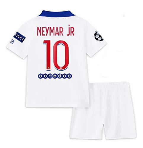 Paris 2020-2021 New Season #10 Neymar Kids/Youth Soccer Away Jersey & Shorts & Armbands T-Shirts Color White Size 26