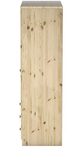 Steens Ribe Kleiderschrank, 3 Türen und 3 Schublade, 150 x 202 x 59 cm (B/H/T), Kiefer massiv, natur lackiert