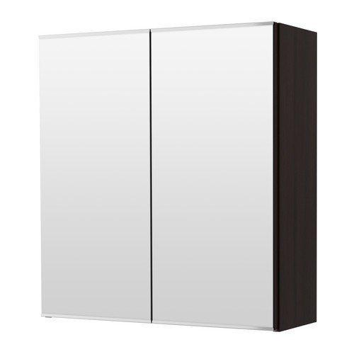 2 XIKEA LILLANGEN -Spiegelschrank mit 2 Türen schwarz-braun - 60x21x64 cm
