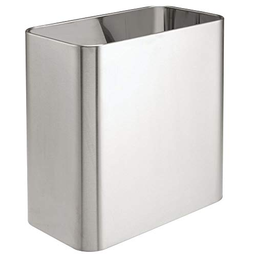 mDesign Rectangular Modern Small Trash Can Wastebasket, Garbage Container Bin - for Bathrooms, Powder Rooms, Kitchens, Home Offices - Solid Stainless Steel - Brushed